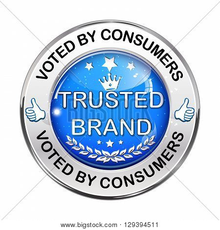 Trusted Brand. Voted by consumers - elegant metallic blue icon / button.