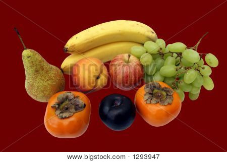 Fruit. Grapes,Banana,Pear,Peach,Apple,Sharan,& Plum
