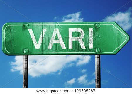 Vari, 3D rendering, a vintage green direction sign