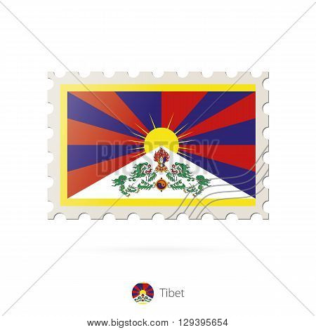 Postage Stamp With The Image Of Tibet Flag.