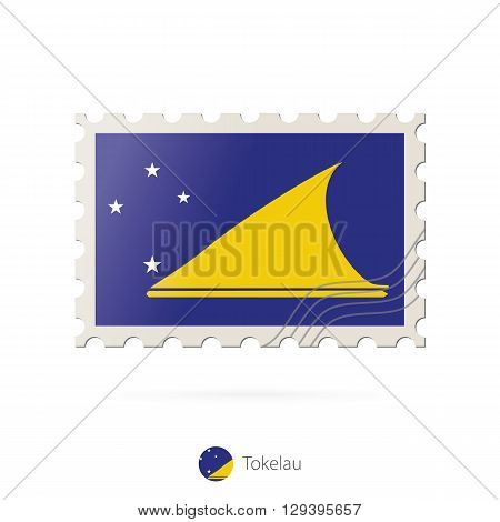 Postage Stamp With The Image Of Tokelau Flag.