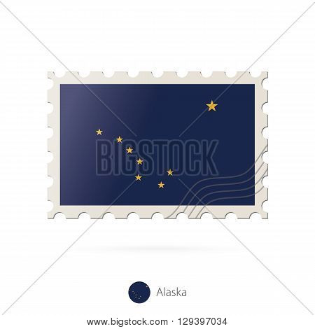 Postage Stamp With The Image Of Alaska State Flag.