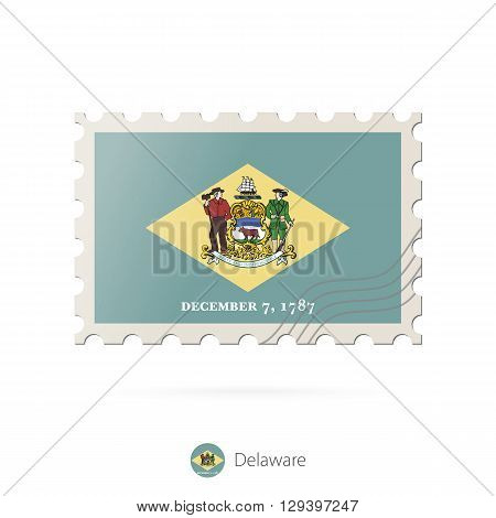 Postage Stamp With The Image Of Delaware State Flag.