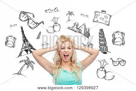people, tourism, vacation and summer holidays concept - smiling young woman or teenage girl holding to her head or touching hair over touristic doodles