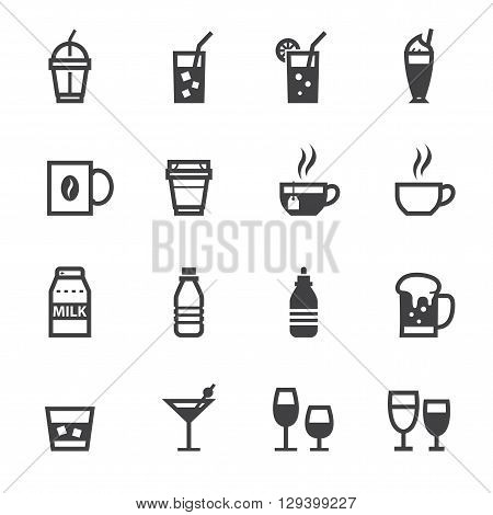 Drink and Beverages icon set with White Background