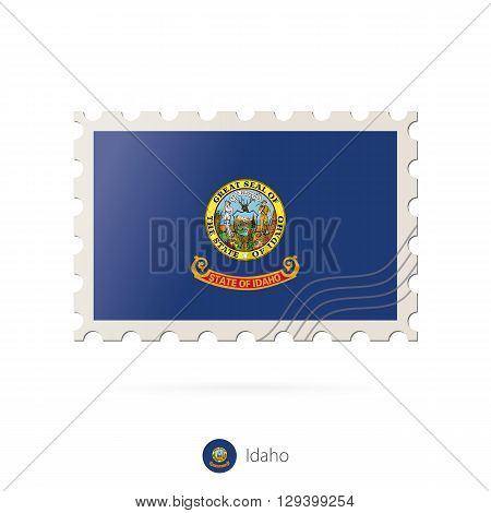 Postage Stamp With The Image Of Idaho State Flag.