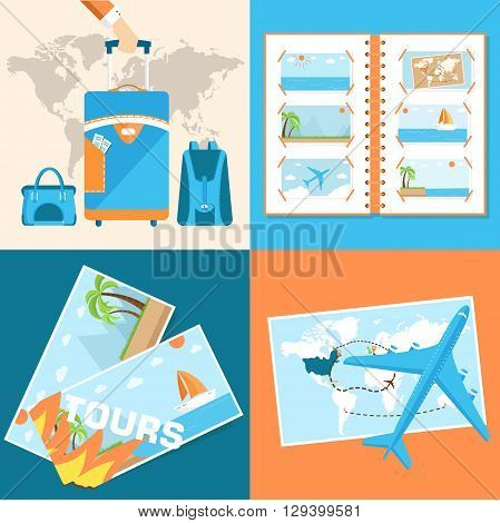 Tour Of The World Seamless Pattern Concept. Tourism With Fast Tr