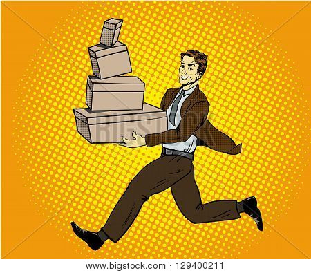 Pop art delivery concept vector illustration. Delivery man handing box.