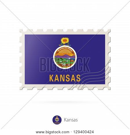Postage Stamp With The Image Of Kansas State Flag.