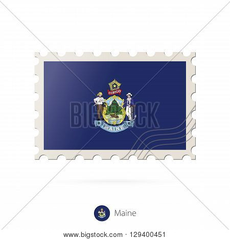 Postage Stamp With The Image Of Maine State Flag.