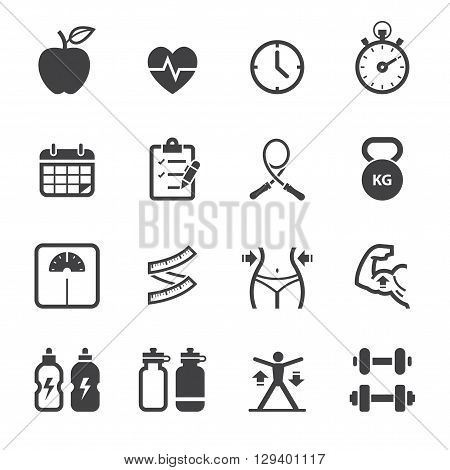 Fitness and Health icon set with White Background