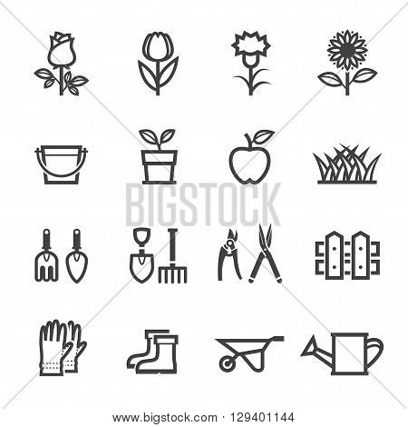 Flower and Gardening Tools icon set with White Background