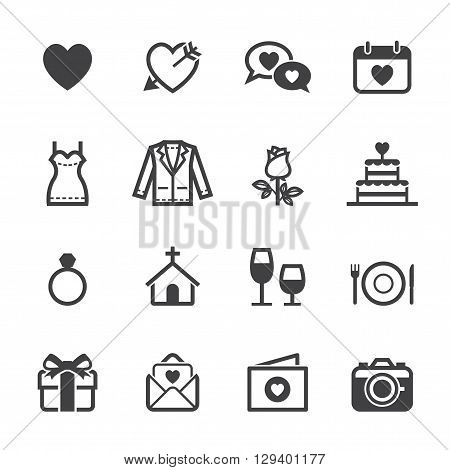 Wedding and Love icon set with White Background