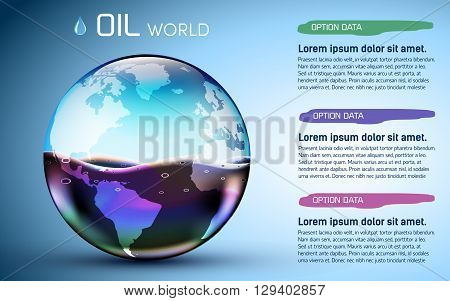Glasses World Oil Stock Background Concept. Vector Illustration