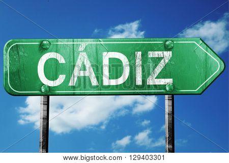 Cadiz, 3D rendering, a vintage green direction sign