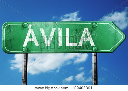 Avila, 3D rendering, a vintage green direction sign