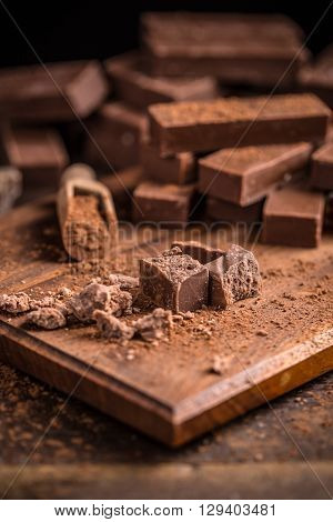 Cubes of homemade chocolate fudge, studio shot