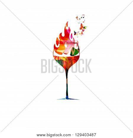 Vector illustration of colorful glass on fire