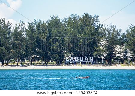 Labuan,Malaysia-May 11,2016:A view of signboard of LABUAN  at Tg Purun Beach,Labuan island,Malaysia. Its show to all visitor and tourist for welcome to Labuan island.
