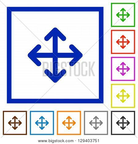 Set of color square framed move flat icons on white background