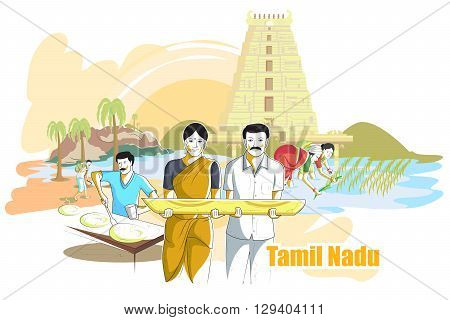 easy to edit vector illustration of people and culture of Tamil Nadu, India