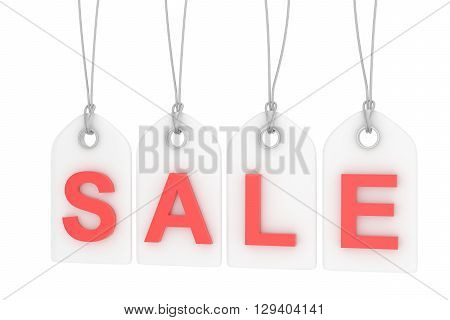 Colorful isolated sale labels on white background. Price tags. Special offer and promotion. Store discount. Shopping time. Red letters on white labels. 3D rendering.