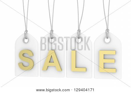Colorful isolated sale labels on white background. Price tags. Special offer and promotion. Store discount. Shopping time. Golden letters on white labels. 3D rendering.
