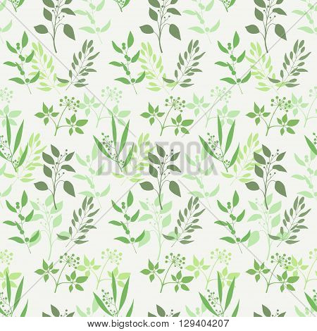 Seamless green plant background. Endless pattern with green twigs and leaves silhouette. Vector illustration
