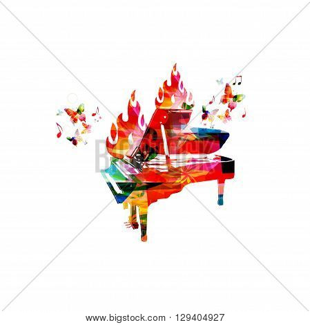 Vector illustration of colorful piano on fire