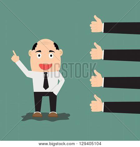 Businessman feedback or like concept. vector illustration.