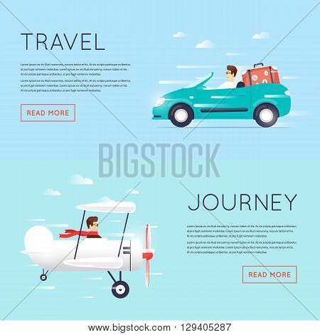Traveling by car cabriolet, Traveling by plane, flying adventure, vacation, holiday, summer. Flat design vector illustration.
