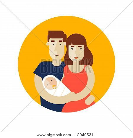 Portrait of a happy family, husband and wife holding the baby in her arms. Characters. Young family. Newborn. Flat design vector illustration.
