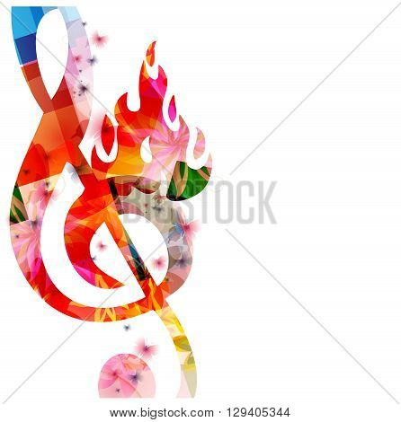 Vector illustration of colorful G-clef on fire