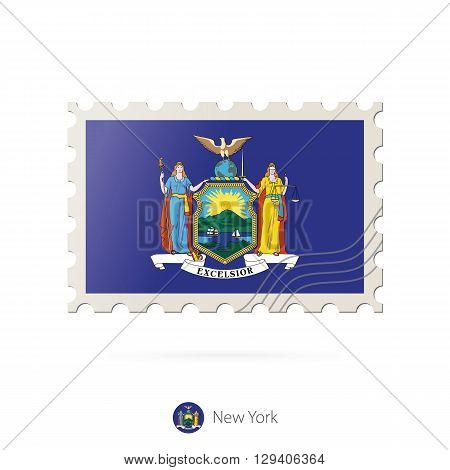 Postage Stamp With The Image Of New York State Flag.