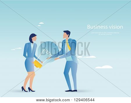 Creative business. Business people holding light bulb