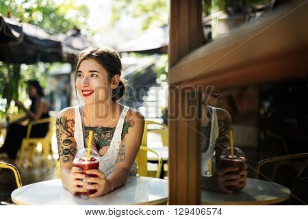 Woman Sitting Coffeeshop Relaxation Concept