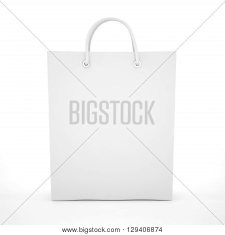 Paper Shopping Bag isolated on white background. 3d rendering.