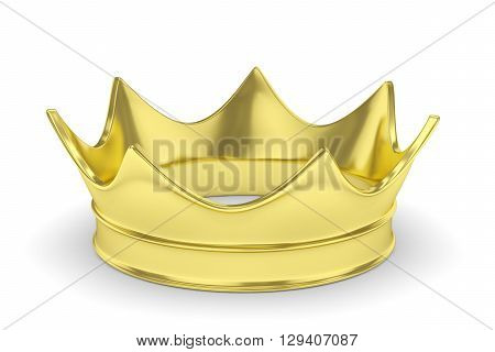 Simple golden royal crown on white. 3D rendering.