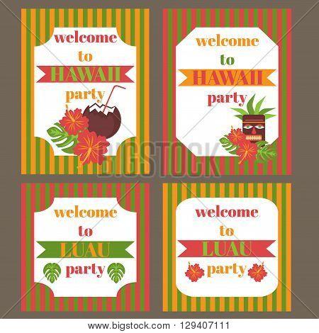 Printable set of hawaii party elements. Template Luau Invitation.