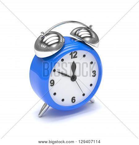 Blue alarm clock on white. 3d rendering.