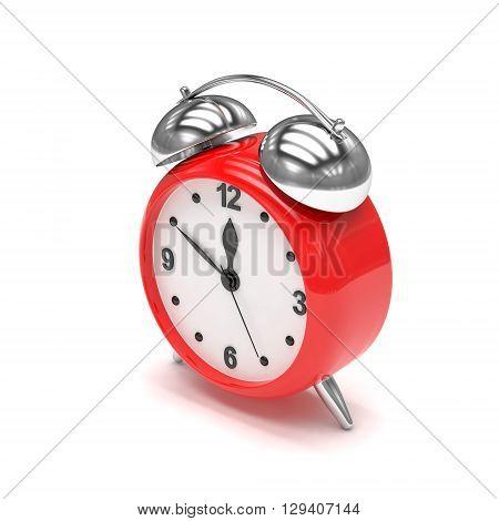 red alarm clock on white. 3d rendering.