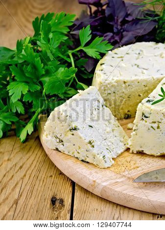 Cheese Homemade Round With Herbs On Board