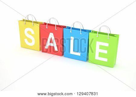 sale written on shopping bag. 3d rendering.