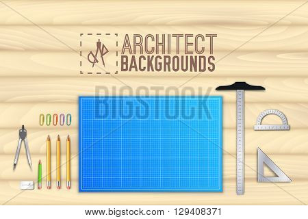 Architect Wood Table Project With Professional Equipment Background Concept. Vector Illustration Des