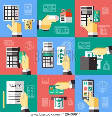 Electronic financial operations decorative icons set with hand banking card money smartphone payment terminal isolated vector illustration