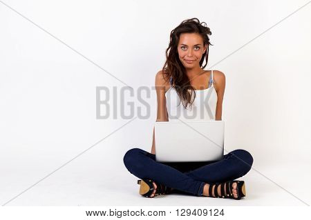 Woman With Laptop On Isolated White Background - Work Anywhere, Success, Freedom Concept