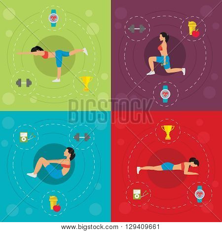 Workout for active woman concept with push-up squat stretching diet dumbbells cardio watch isolated vector illustration