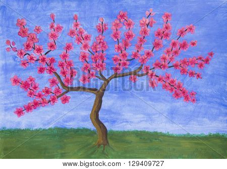 Peach tree in blossom with pink flowers, painting, acrylic