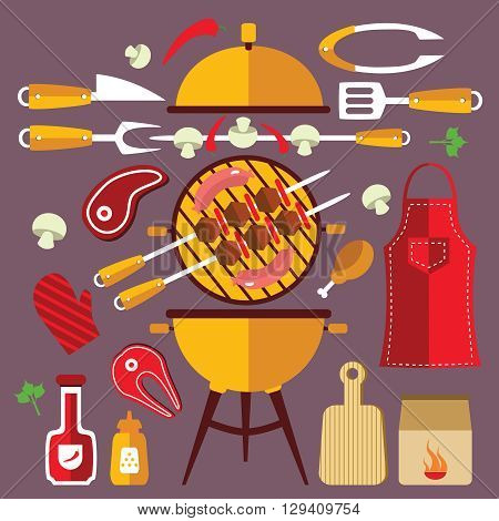 Flat  icons concept set with fork apron steak and other accessories and food for BBQ vector illustration