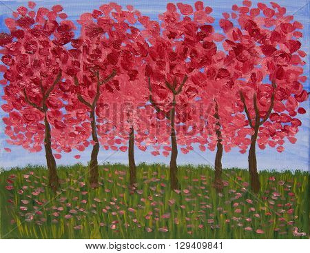 Spring garden in crimson colours oil painting.